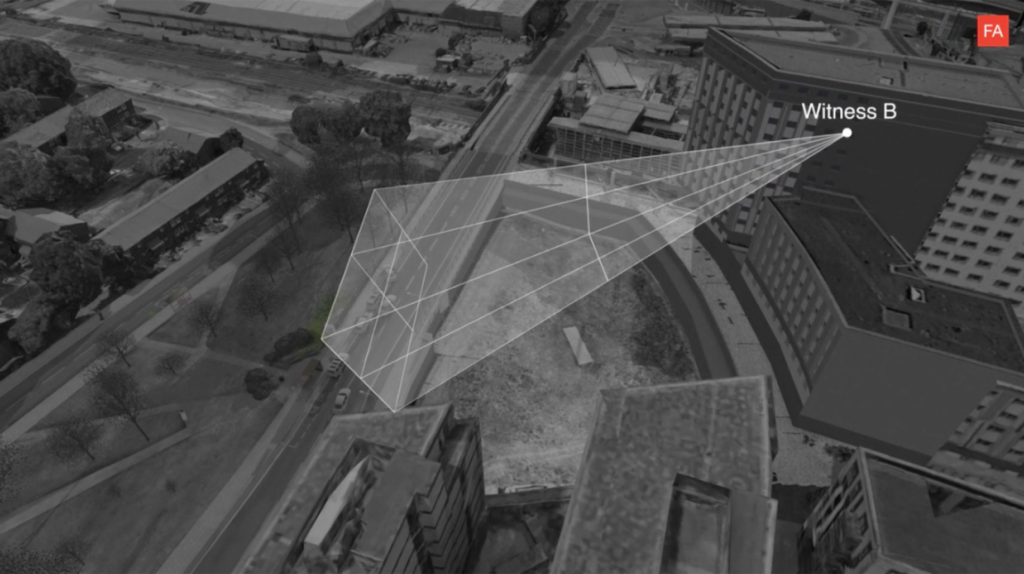 computer visualisation of tower block overlooking road with view of witness camera from https://forensic-architecture.org/investigation/the-killing-of-mark-duggan