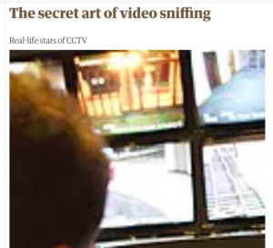 screenshot of newspaper article with blurry image of a cctv display of a shopping centre. https://www.theguardian.com/culture/2008/apr/25/3