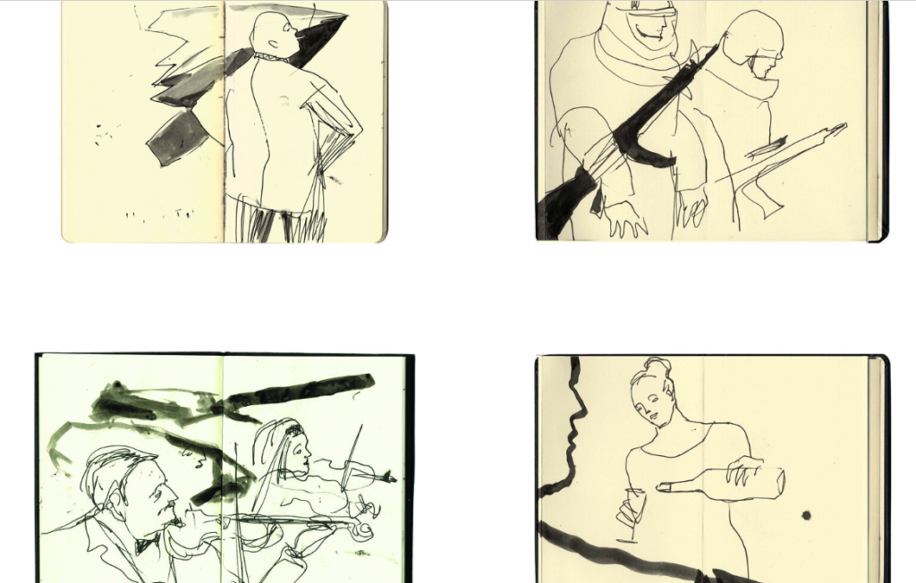 pages from Dr Jill Gibbon's sketch books of people in arms fairs