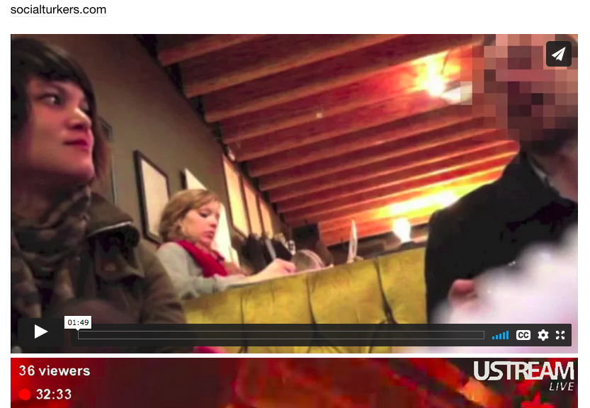 screenshot of Lauren McCarthy's web site of her sat in a bar on a date talking with someone with a pixelated face.
